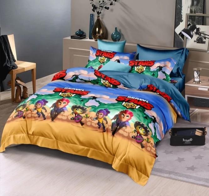 Детское постельное полуторное белье Бравл старс, ранфорс, 100% хлопок, Тет-а-тет