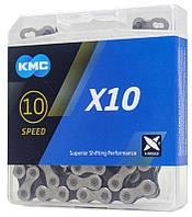 Цепь KMC X10 10 скоростей 116 звеньев silver/black + замок