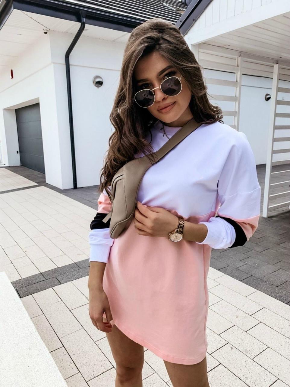 Женское платье-толстовка трехцветное