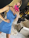 Женское летнее платье на тонких бретелях в горошек, фото 5