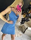 Женское летнее платье на тонких бретелях в горошек, фото 8