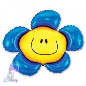 Фольгированный Шар Мини-Фигура Flexmetal 34х37 см Цветок Синий