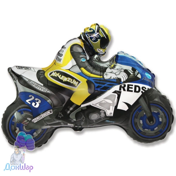 Фольгированный Шар Мини-Фигура Flexmetal 31х24 см Мотоциклист Синий