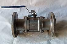 Кран шаровой трехсоставной фланцевый нержавеющий, Ду 65 / шар-нж сталь 304 / PTFE / PN40