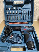 Шуруповерт Bosch TSR12-2LI (12V 3Ah Li-Ion) с набором инструментов.
