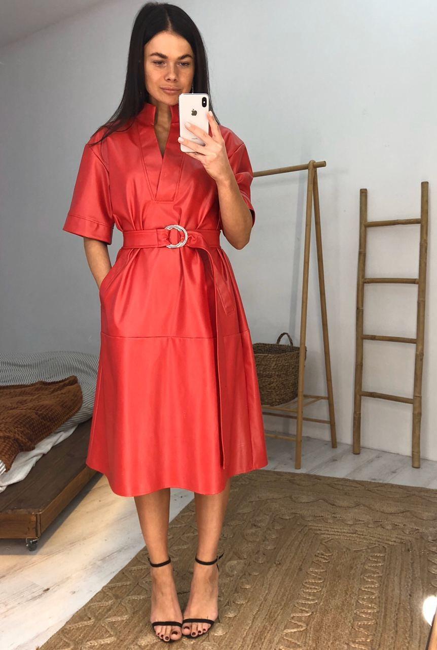 Женское  модное  платье с эко кожи