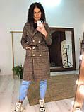 Строгое двубортное пальто в клетку, фото 2
