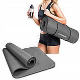 Коврик (мат) для йоги и фитнеса Springos NBR 1.5 см YG0001 Grey, фото 5