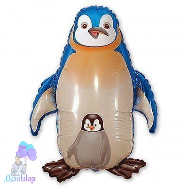 Фольгированный Шар Мини-Фигура Flexmetal 34х30 см Пингвин Синий