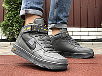 Зимние мужские кроссовки Nike Air Force 1 grey (Мех). [Размеры в наличии: 41,42,44,45,46], фото 1