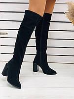 Сапоги ботфорты чёрные из натуральной замши на удобном каблуке