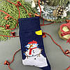 Чоловічі шкарпетки стрейчеві новорічні Сніговик Сині, фото 3