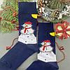 Чоловічі шкарпетки стрейчеві новорічні Сніговик Сині, фото 2