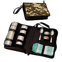 Набор для пикника подарочный с полотенцем BST 100010 28х19х8 см на 2 персоны
