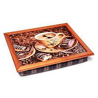 Поднос на мягкой подушке BST 710079 44*36 коричневый кофе и шоколадные печенье