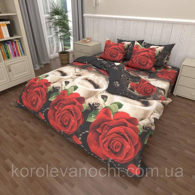"""Полуторний комплект (Бязь)   Постільна білизна від виробника """"Королева Ночі""""   Червоні троянди і кави"""