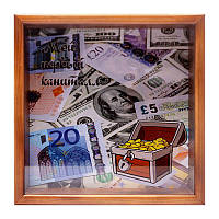 Копилка для бумажных денег Мой новый капитал BST 710026 20х20см  коричневый