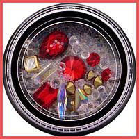 Камни для декора ногтей Lpnails красные микс