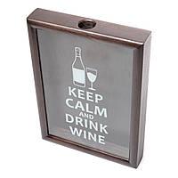 Копилка для винных пробок BST 38х28х5,5 см черная Keep calm and drink wine (PRK-63)