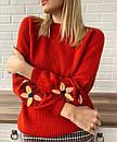 Теплий в'язаний жіночий чорний светр з вишивкою, фото 2