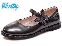 Туфли для девочки Бабочка серый лак(29-33)р Weestep Китай R191054161DGR, фото 1