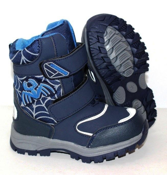 Зимние ботинки на меху синего цвета для мальчика подростка