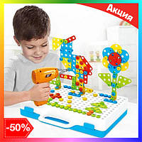 Детский Конструктор мозаика с шуруповертом от батареек в чемодане 224 детали, Развивающие и обучающие игрушки