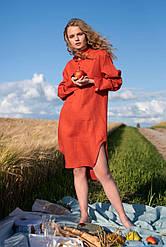 Льняное платье свободного кроя. Украина Silence 014 Terracotta