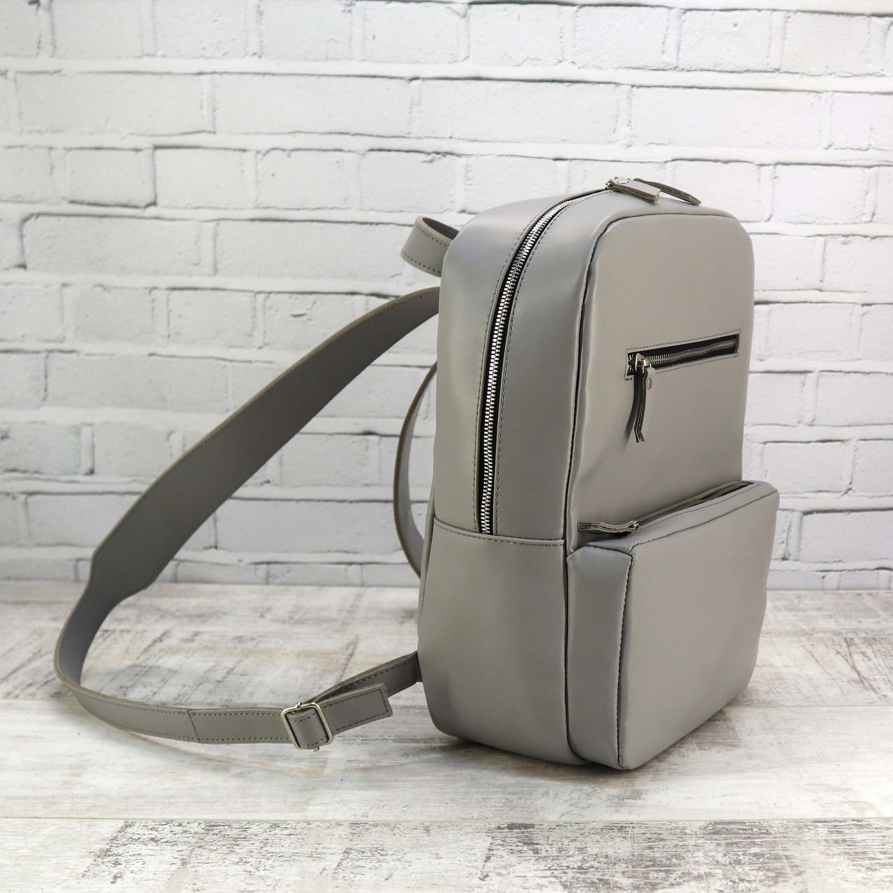 Рюкзак Mihey a4 серый из натуральной кожи kapri 1330103