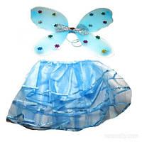 Детский карнавальный костюм фея бабочка синий
