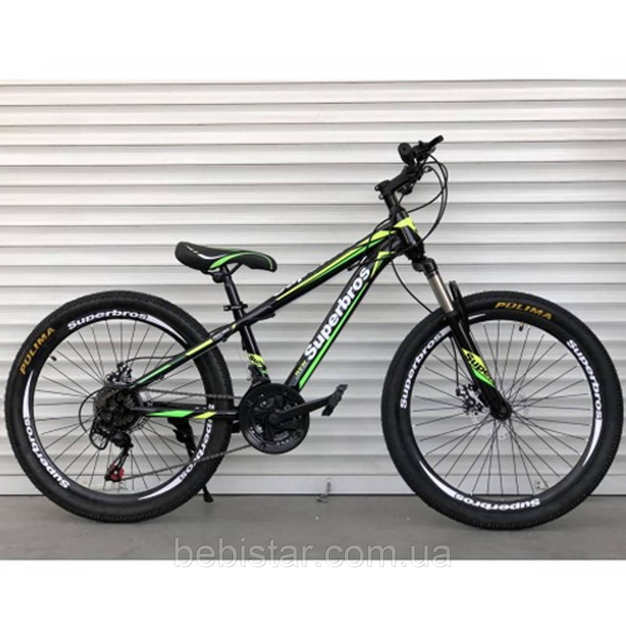 Спортивный велосипед ТopRider 24 дюйма салатовый 21 скорость металлическая рама 14 детям с 8 лет рост от 130см