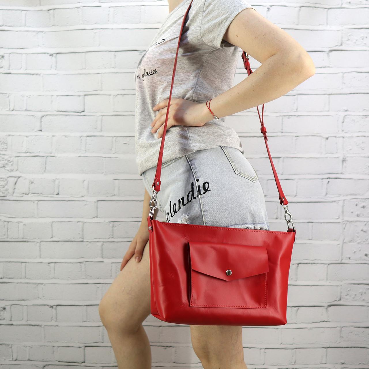 Сумка Mihey front pocket красная из натуральной кожи kapri 1452602