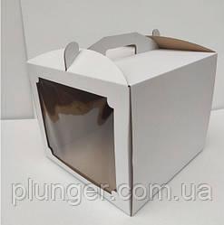 Коробка картонна для торта 30 см х 30 см х 25 см, біла з вікном (30Т) 2
