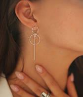 """Серьги длинные серебряные """"Ты-Особенная"""" - модные стильные длинные серьги кольца"""