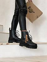 Ботинки зимние женские Dr.Martens в стиле Мартенс, натуральная кожа, мех 100 %, код Z-2062. Черные