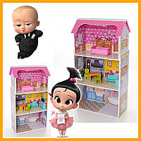 Деревянная игрушка Домик MD 1549 для куклы 50-95-24 см 3 этажа мебель
