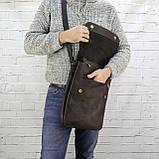 Сумка post planshet коричневая из натуральной кожи crazy horse, фото 6