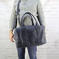 Дорожная сумка Mihey cube short синяя из натуральной кожи crazy horse 1470905