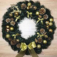 Рождественский венок ø 55 см Символический. Золотой.