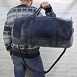 Дорожная сумка tube синяя из натуральной кожи crazy horse, фото 3