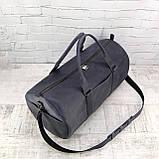 Дорожная сумка tube синяя из натуральной кожи crazy horse, фото 6