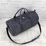 Дорожная сумка tube синяя из натуральной кожи crazy horse, фото 9