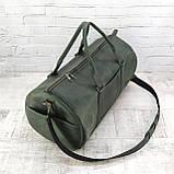 Дорожная сумка tube зеленая из натуральной кожи crazy horse, фото 2