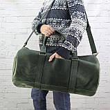 Дорожная сумка tube зеленая из натуральной кожи crazy horse, фото 3