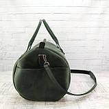 Дорожная сумка tube зеленая из натуральной кожи crazy horse, фото 4