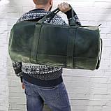 Дорожная сумка tube зеленая из натуральной кожи crazy horse, фото 5