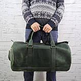 Дорожная сумка tube зеленая из натуральной кожи crazy horse, фото 7