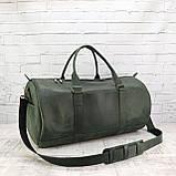 Дорожная сумка tube зеленая из натуральной кожи crazy horse, фото 8