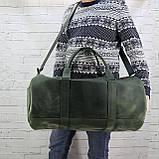Дорожная сумка tube зеленая из натуральной кожи crazy horse, фото 9