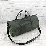 Дорожная сумка tube зеленая из натуральной кожи crazy horse, фото 10